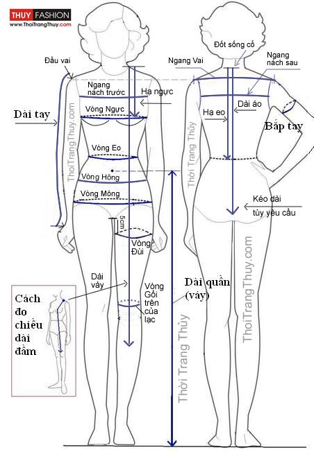 Cách đo váy áo quần thời trang thủy hải phòng
