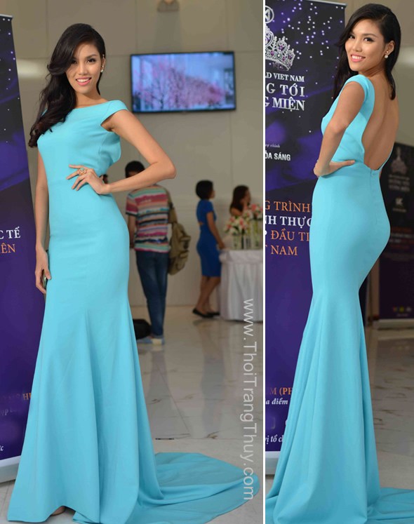 Siêu mẫu Lan Khuê xanh ngọc với váy đuôi cá
