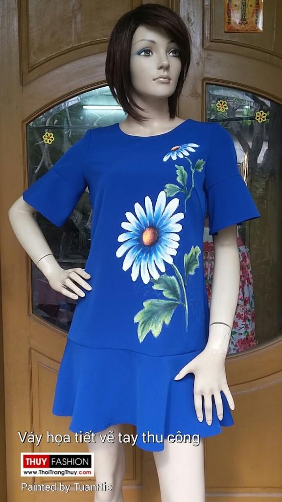 Váy vẽ tay thủ công hoạ tiết hoa đồng tiền V145