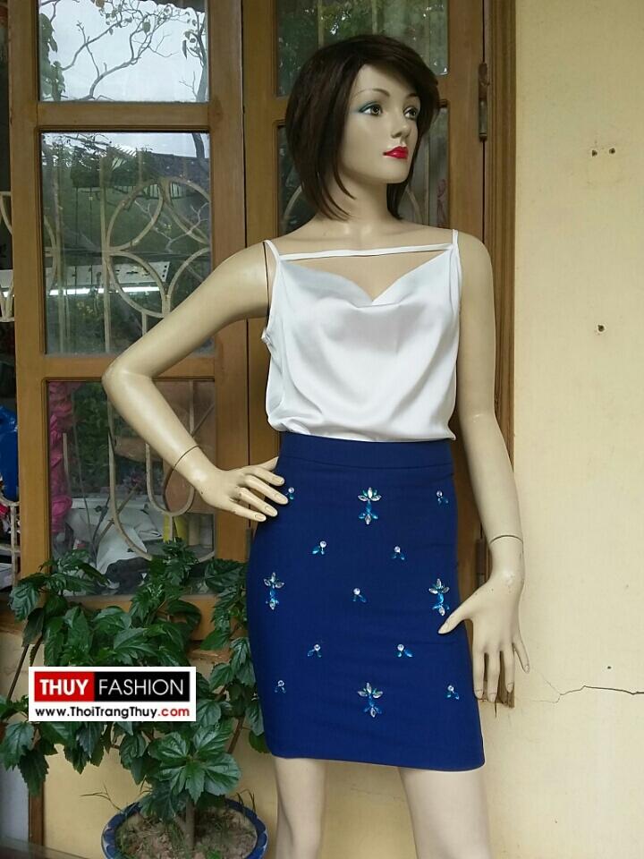 Chân váy đính hạt thủ công và áo hai dây V161 thời trang thuỷ
