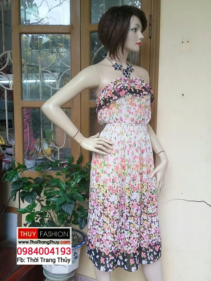Váy quây vải chiffon hoạ tiết hoa V155