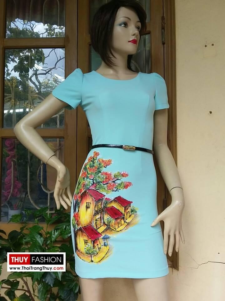 Váy vẽ tay thủ công hoạ tiết phố cổ V156