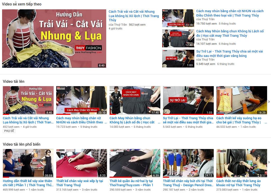 kênh youtube thời trang thủy hải phòng