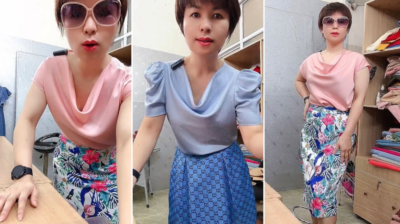 Áo cổ đổ phối đồ với chân váy bút chì và vá xòe thời trang thủy hải phòng