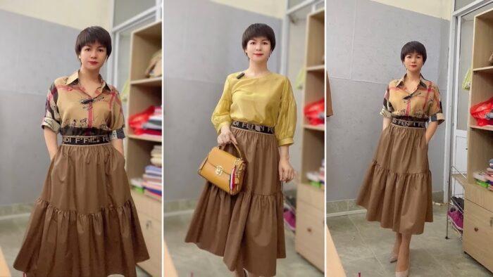 2 kiểu áo sơ mi nữ công sở phối đồ chân váy xòe midi thời trang thủy