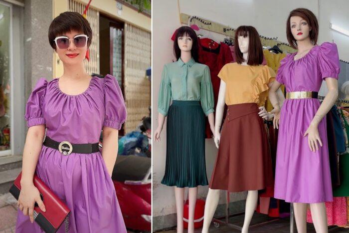 Review chất vải váy xòe áo sơ mi nữ công sở và dạo phố V761 thời trang thủy hải phòng