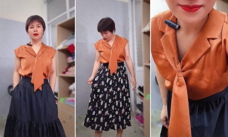 áo bám vai và phối đồ 2 kiểu váy xòe midi V763 thời trang thủy hải phòng