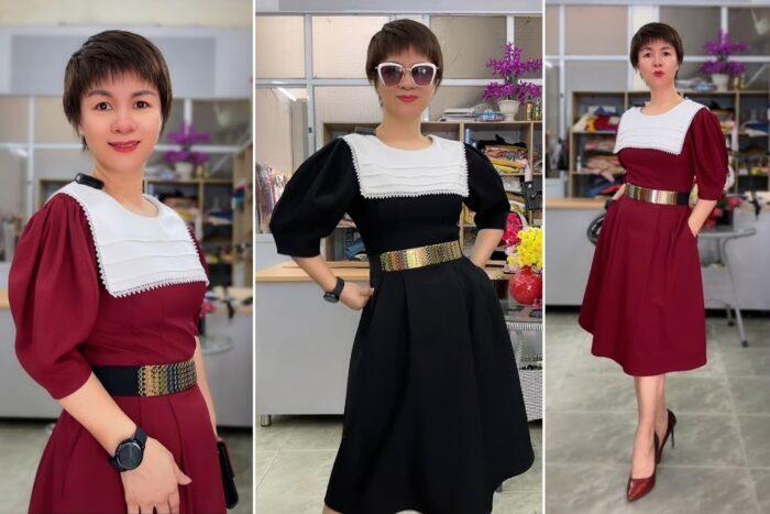 Review 5 ưu điểm váy xòe midi cổ yếm tay bồng thời trang thủy hải phòng