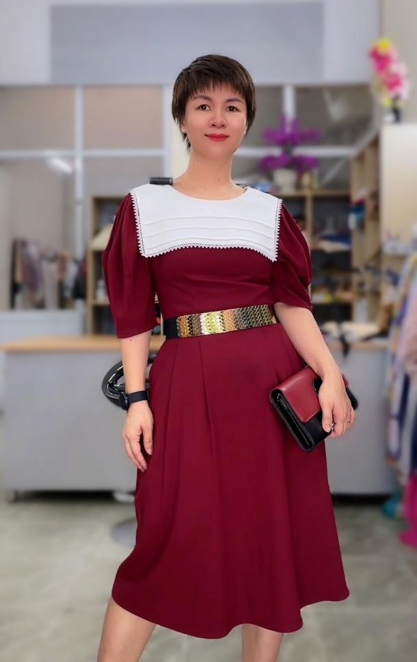 Review 5 ưu điểm váy xòe midi cổ yếm tay bồng thời trang thủy hải phòng 2