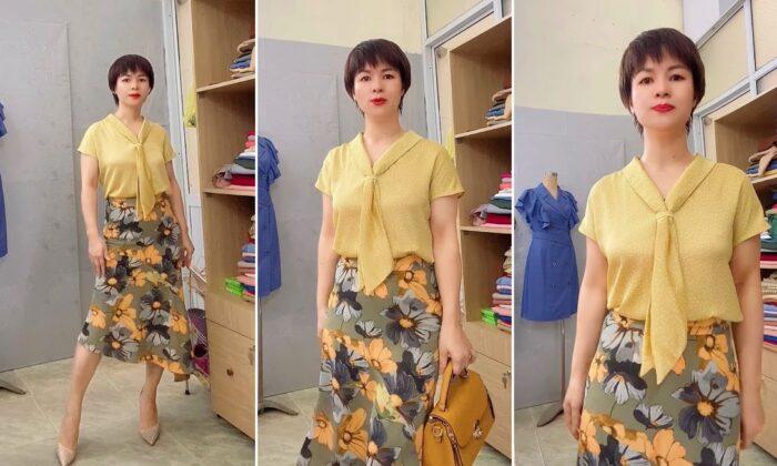 Review áo sơ mi nữ cổ nơ chấm bi chân váy xòe đuôi cá V767 thời trang thủy hải phòng