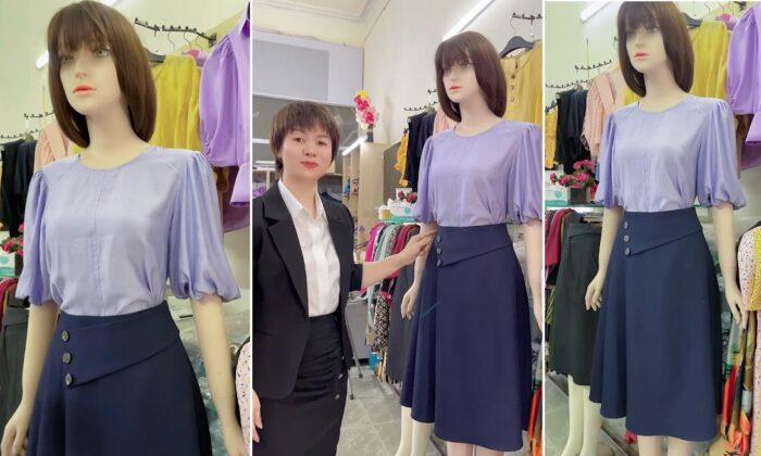 áo sơ mi nữ và chân váy xòe thời trang thủy thiết kế