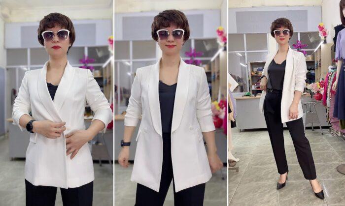 áo vest nữ cổ sam dáng dài suông eo màu trắng thời trang thủy hải phòng