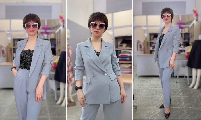 áo vest nữ dáng dài phối đồ quần baggy công sở thời trang thủy