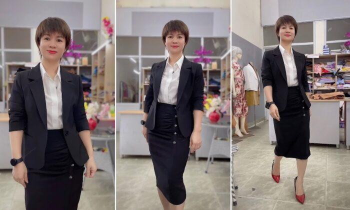 áo vest nữ 1 lớp chân váy bút chì công sở mặc đẹp thời trang thủy