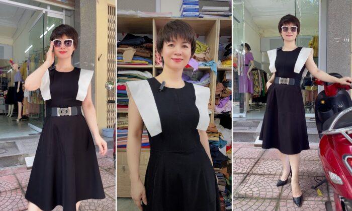 Váy xòe liền dáng midi phối màu đen trắng V770 thời trang thủy hải phòng