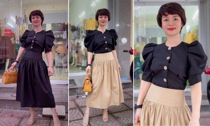áo croptop nữ tay bống phối đồ chân váy xòe midi thời trang thủy hải phòng 2