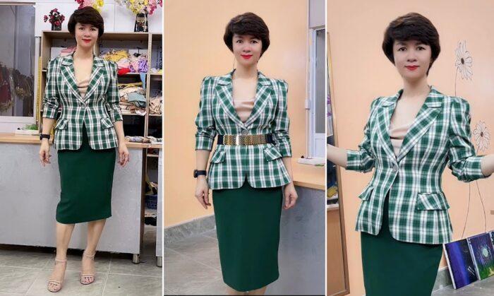 áo vest nữ công sở phồng hông dáng ngắn thời trang thủy hải phòng