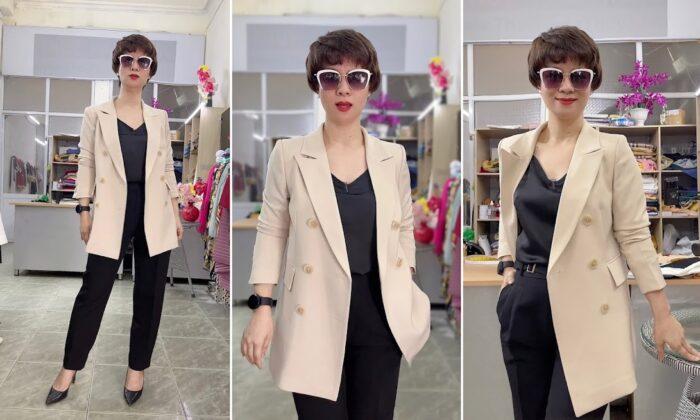 áo vest nữ dáng dài màu be mặc đẹp thời trang thủy hải phòng