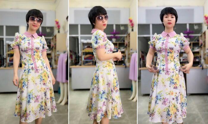 váy xòe midi công sở nữ mặc đẹp thời trang thủy hải phòng