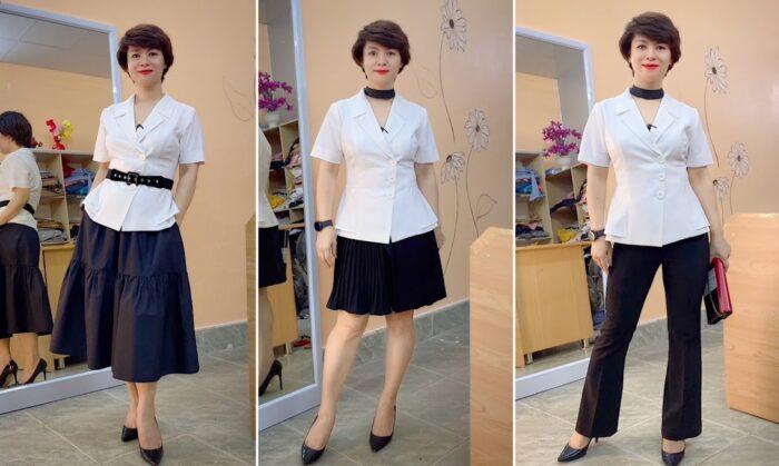 áo peplum che bụng phối đồ công sở mặc đẹp thời trang thủy hải phòng